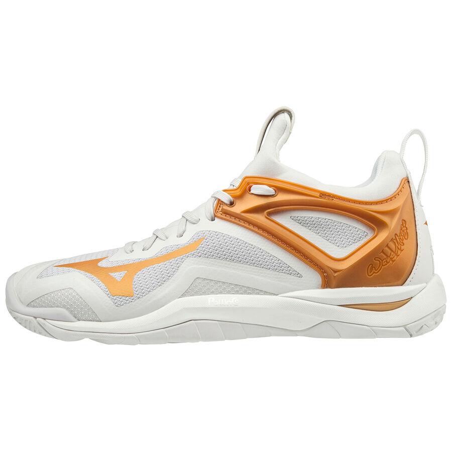 Mizuno Womens Wave Mirage 3 Indoor Court Shoes White Sports Netball Handball